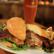 Gilgamesh Brewing The River Bacon Burger and Beer