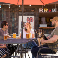 Brew Coffee and Taphouse group on the sunny patio with beer