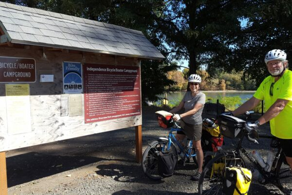 Independence Bicycle-Boater Campground sign