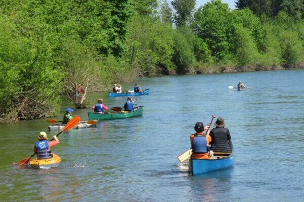 Kayaks and Canoes on the Willamette River
