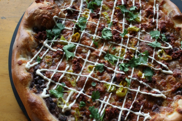 Shows the Snake Pizza from Gilgamesh Brewing