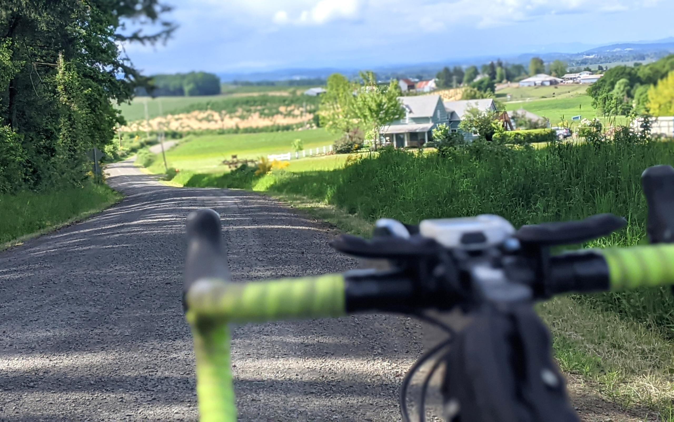 A view of farmland over bike handlebars